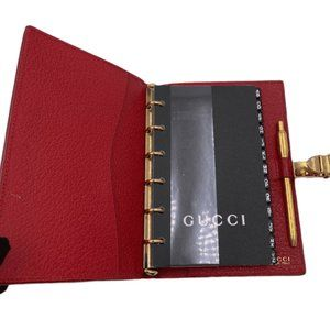 Authentic Gucci Red 6-ring Agenda Planner